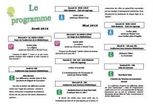Programme de l'Université Populaire de la Narbonnaise 2ème trimestre