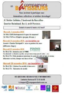 Narbonne : programme de Novembre des Compagnons Bâtisseurs @ Ateler Solidaire quartier Razimbaud | Narbonne | Occitanie | France