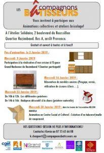 Compagnons Bâtisseurs : programme janvier 2019 @ Ateler Solidaire quartier Razimbaud | Narbonne | Occitanie | France