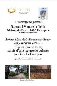 LUCIOLES : lecture de poèmes à Rustiques @ Maison du Parc,  Centre Culturel municipal | Rustiques | Occitanie | France