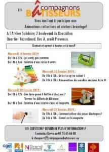 Narbonne : programme de février des Compagnons Bâtisseurs @ Atelier solidaire  | Narbonne | Occitanie | France