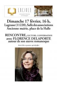 Lagrasse : rencontre littéraire avec Florence Delaporte @ Ancienne mairoe de Lagrasse | Lagrasse | Occitanie | France