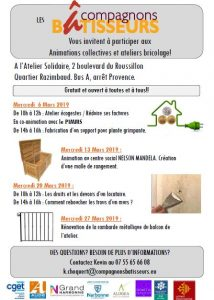 Narbonne : programme des compagnons bâtisseurs, mois de mars @ Atelier solidaire | Narbonne | Occitanie | France