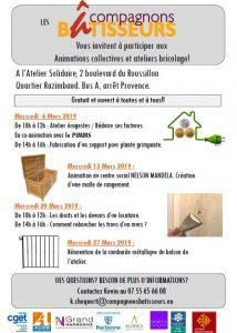 Narbonne : programme des compagnons bâtisseurs, mois de mars @ Atelier solidaire | Narbonne | Occitanie | France