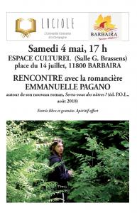 Luciole : rencontre avec la romancière Emmanuelle Pagano @ Espace culturel de  Barbaira (Salle G Brassens) | Barbaira | Occitanie | France