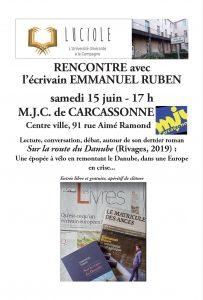 Rencontre avec l'écrivain Emmanuel Ruben à la MJC de Carcassonne  : ANNULEE @ MJC de Carcassonne | Carcassonne | Occitanie | France