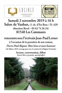 LUCIOLE  INVITE À UNE RENCONTRE AVEC L'ECRIVAIN JEAN-PAUL LERNER @ Salon de Vauban   Les Cammazes   Occitanie   France