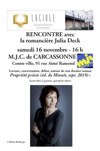 Luciole : rencontre avec la romancière Julia Deck à la MJC de Carcassonne @ MJC de Carcassonne | Carcassonne | Occitanie | France