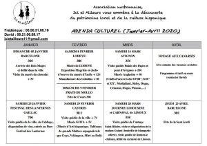 "Agenda culturel 1er trimestre 2020 de l'association ""ici et ailleurs"""