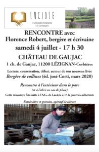 Luciole : rencontre avec Florence Robert, bergère et écrivaine @ Chateau de Gaujac | Lézignan-Corbières | Occitanie | France