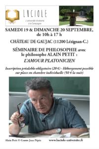 Luciole séminaire de philosophie : l'amour platonicien @ Chateau de Gaujac | Lézignan-Corbières | Occitanie | France