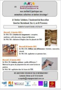 Narbonne :programme de janvier des Compagnons Bâtisseurs @ Atelier solidaire | Narbonne | Occitanie | France