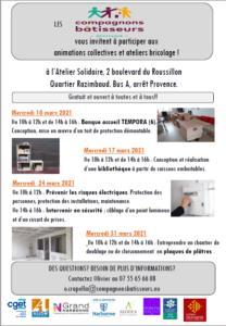 Narbonne, Compagnons bâtisseurs : programme mars 2021 @ Atelier solidaire | Narbonne | Occitanie | France