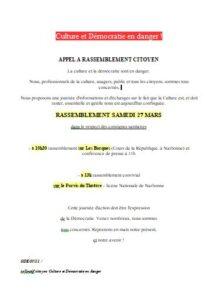 Narbonne, appel à manifester : La Culture en Danger @ Les barques à 10 h ouis Parvis de Théagtre SN à 13 h | Narbonne | Occitanie | France