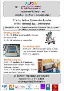 Les compagnons bâtisseurs : programme avril 2021 @ Atelier solidaire | Narbonne | Occitanie | France