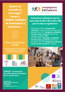 Narbonne, atelier solidaire : programme juin 2021 @ Atelier solidaire | Narbonne | Occitanie | France