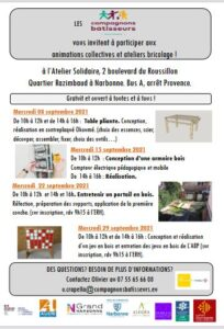 Narbonne : programme de septembre des Compagnons bâtisseurs @ Atelier solidaire | Narbonne | Occitanie | France