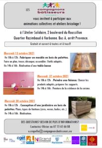 Compagnons bâtisseurs : programme octobre 2021 @ Atelier solidaire | Narbonne | Occitanie | France