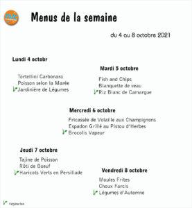 Resto MJC Narbonne : menus semaine du 4/10 au 8/10/2021 @ MJC Narbonne   Narbonne   Occitanie   France
